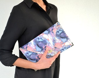 Leather clutch / Purple leather bag / Painted leather purse / Leather handbag /envelope clutch / Leather evening bag