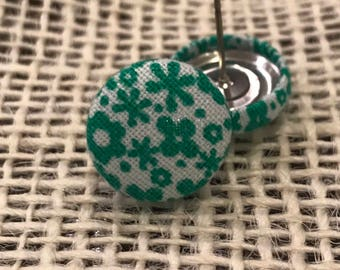 Green and white fabric button earrings!