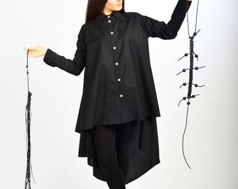 Black Loose Shirt/ Asymmetric Top/Long Tunic/ Loose Top/ Long Black Shirt by Fraktura B0055