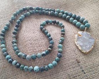 African turquoise clear quartz arrowhead necklace