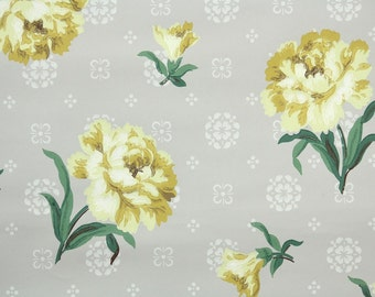 1940s Vintage Wallpaper by the Yard - Yellow Carnations on Grey Geometric, Floral Wallpaper
