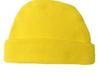 Yellow Capped Baby Hat. 100% Cotton Knit. Double Thick with a Built in Cap to Stay on Baby's Head. Preemie, Newborn Sizes to 6 Months