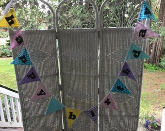 Happy Birthday fabric banner-pastel colors