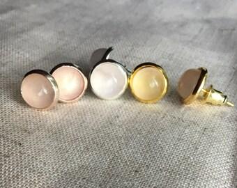 Bridal party gift Rose Quartz earrings Rose Gold Stud Earrings, Rose Quartz Earrings, Rose Gold Stud Earrings, Bridesmaid gift, boho