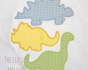Dinosaur trio stack zig zag applique machine embroidery desing file in 4x4, 5x7, and 6x10