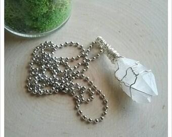 Elestial Quartz Pendant, Wire Wrapped Necklace, Clear Quartz Necklace, Natural Crystal Jewelry, Raw Crystal Necklace, Hippie Necklace