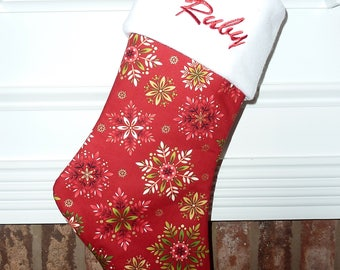 Red with Floral Design - Personalized Christmas Stocking