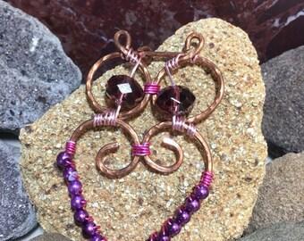 Handmade copper owl pendant, copper wire owl pendant, beaded copper owl pendant, copper pearl owl pendant, hammered copper owl pendant,