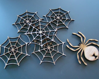 Wooden Laser Cut Spider Web Drink Coasters Set of 6
