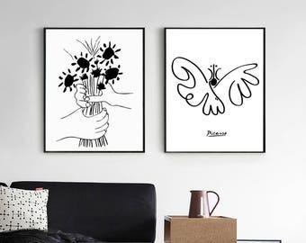 Picasso Print Sketch Art Set Of 2 Black And White Digital Art Line Art Diptych Two Prints Scandinavian Printable Poster Set Illustration Art