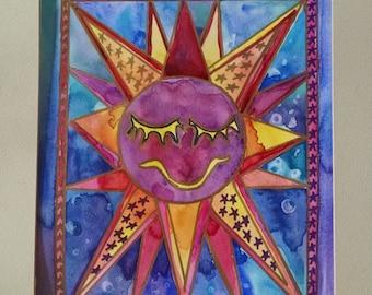 Sun watercolor painting, original painting, kid room art, nursery wall decor, art for children