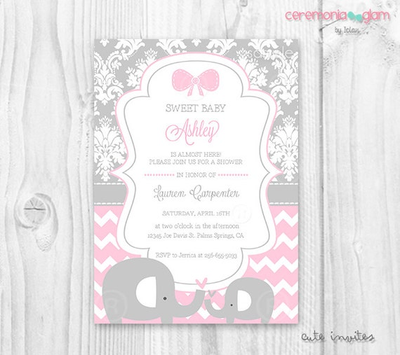Pink and grey elephant baby shower invitation baby shower filmwisefo