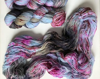 Hand-dyed yarn, Indie dyed yarn, hand dyed yarn BETTE vs JOAN --dyed to order-- Broadway sparkle sock merino/ nylon/ stellina yarn