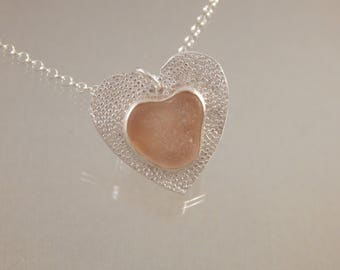 Pink Sea Glass Heart Necklace in Fine Silver 18 inch sterling silver  chain