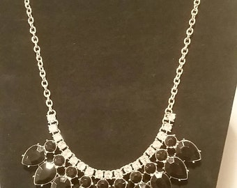 Vintage black glass stone and rinestone 20 inch necklace