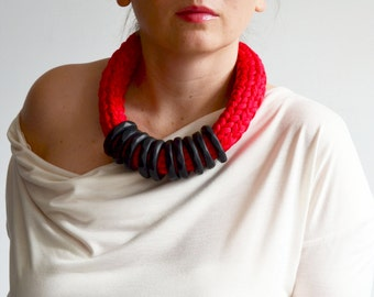 Red statement necklace, red necklace, fabric necklace, Valentine s  necklace, red gifts/chunky red necklace, red accessory, chunky necklace