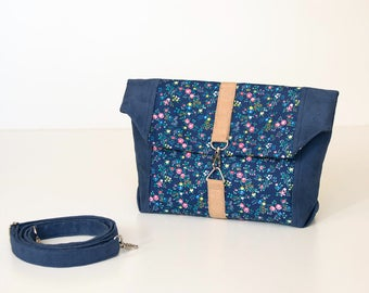 Fold over handbag sewing pattern and tutorial, shoulder bag, small clutch - t011