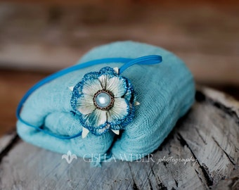 Baby Wrap Set, Newborn Cheesecloth, Turquoise Newborn Wrap, Baby Headband, Baby Shower Gift, Small Newborn Headband, Turquoise Baby Headband