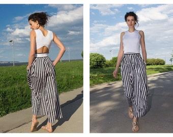 Maxi Skirt Women / Black and White Skirt / Striped Skirt / Long Skirt / High Waist Skirt / Cotton Skirt / Comfortable skirt