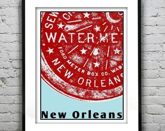 New Orleans Water Meter Art Print Poster NOLA Louisiana Version 2