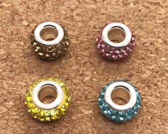 12*8mm 10pcs Rhinestone Beads, European beads, Large Hole Beads, 4 Colors