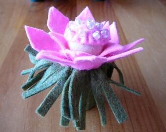 Pink Beaded Peg Doll Flower Fairy, Waldorf Inspired, Small Wool Felt Flower Fairy,