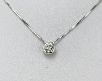 Diamond Solitaire Necklace 14 Kt. White Gold