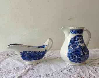Vintage Blue and White Adams Milk Jug and Gravy Boat