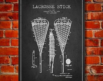 1950 Lacrosse Stick Patent, Canvas Print,  Wall Art, Home Decor, Gift Idea