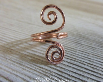Copper Ring Adjustable Ring Swirl Hammered Texture Graceful Swirls Copper Adjustable Ring