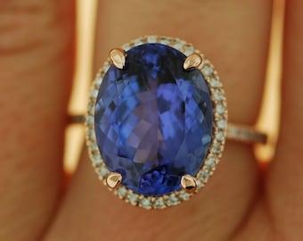 Tanzanite Ring. Rose Gold Ring. GIA certified Violet Blue Tanzanite oval cut engagement ring 14k rose gold ring by Eidelprecious.