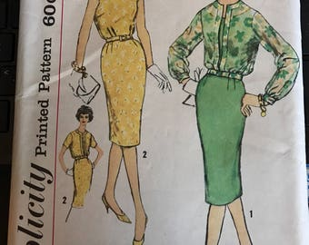 Vintage 60s Simplicity 2970 Slenderette Pattern-Size 16 1/2 (37-31-41)