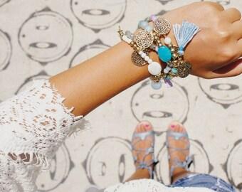 Tassel Bracelet Set - Set of 4 Bracelets - Stacking bracelet sets - Boho bracelet sets - Beaded bracelet sets