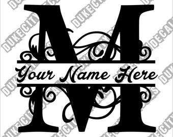 Letter M Floral Initial Monogram Family Name Vinyl Decal Sticker - Personalized Floral Name Decal