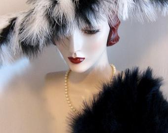 ON SALE/ Sinamay Cartwheel Hat with Feather Fringe