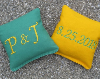 Personalized Wedding Cornhole Game Bags - Couple's Initials & Wedding Date - Set of 8 Shown in Grass Green and Yellow - Great Gift!!