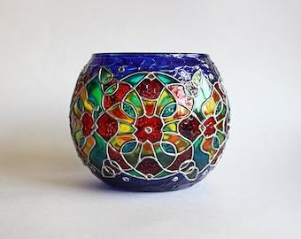 Blue Kaleidoscope Candle Holder Mosaic Candleholder Birthday Gift  Christmas Gift Glass Votive Art Glass Tealight Holder Unique Gift