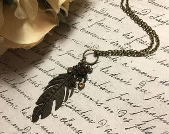 Bronze Feather Necklace, Feather Necklace, Feather Jewelry, Boho Feather Necklace, Bronze Leaf Necklace, Bronze Leaf Jewelry, Boho Jewelry