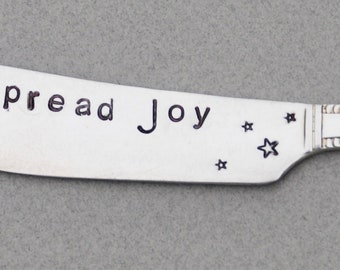 SPREAD JOY Silver Plate Spreader. Brunch Table Decor. Silver Plate Spreader. Hostess Gift brunch. Mother's Day gift. Hand Stamped. Joy Love