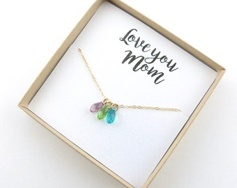 Mothers Birthstone Necklace, Mothers day Necklace, Children's Birthstone Necklace Personalized Jewelry Grandma gift child birthstone