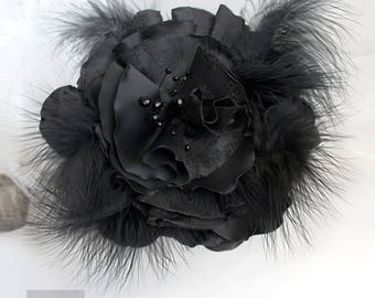 Black Large Hair Flower,  Fascinator With Feathers, Gothic fascinator, Gothic Hair Accessories, Black Fascinator Mini Hat, Black Hair Flower