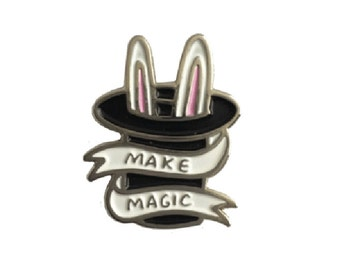 Make Magic Enamel Pin Badge - Cute Enamel Pin - Black and White Top Hat Pin Badge by Veronica Dearly