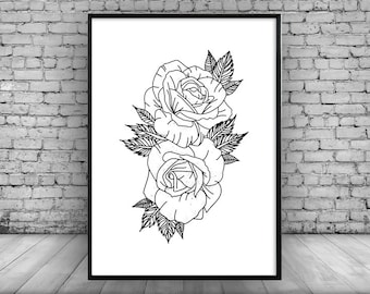 Flower Wall Print Wall Art Poster Picture Design Christmas Present Home Decor