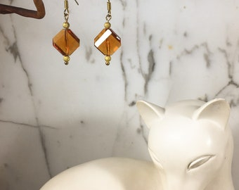 Faceted Vintage Amber Bead Earrings - Graduation Gift
