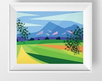 Scandinavian Art, Printable Art, Abstract Art Print, Modern Art, Wall Decor, Wall Art, Digital Download, Colorful nursery print, Landscape