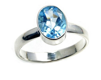 Blue Topaz Sterling Silver Ring Size 6.25 , 6.5, 7.25, 7.5, 8 , 8.25 The Silver Plaza AA502 , AA420, AA499,  AA486, AA501 , AA500