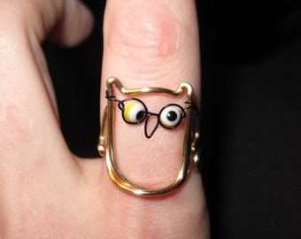 Wire Wrapped Smart Owl MADE to ORDER Ring