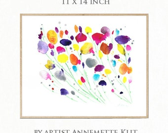 11 x 14 Original Aquarell-Malerei. Blumenkunst. Wiese Blume Art. Original Gemälde Blumen. Blumenkunst. Handbemalter Aquarell Blumenkunst