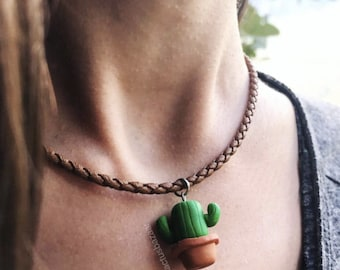 Polymer Clay Cactus Necklace