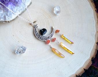 Moon Necklace - Moon Jewelry - Tourmaline Jewelry - Crescent Moon Necklace - Aura Quartz Necklace - Aura Quartz Jewelry - Yellow Aura Quartz
